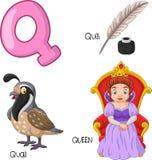 Beeldverhaalq alfabet stock illustratie