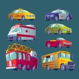 Beeldverhaalreeks geïsoleerde pictogrammen van stadsvervoer Brandvrachtwagen, ziekenwagen, politiewagen, schoolbus, taxi, privé a Royalty-vrije Stock Foto