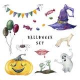 Beeldverhaalreeks Halloween-karakters stock illustratie