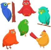 Beeldverhaalreeks kleurrijke leuke grappige vogels Royalty-vrije Stock Foto's