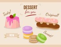 Beeldverhaalreeks van cake met glans stock illustratie