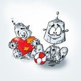 Beeldverhaalrobot met rood hart Stock Fotografie