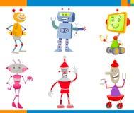 Beeldverhaalrobots en de Set van tekens van Droids vector illustratie