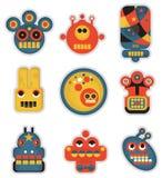 Beeldverhaalrobots en monstersgezichten in kleur. Stock Afbeelding