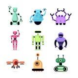 Beeldverhaalrobots geplaatst die op witte vectorillustratie worden geïsoleerd Grappige droids en hommelsinzameling vector illustratie