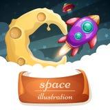 Beeldverhaalruimte illustraton Wolk, maan, raket vector illustratie