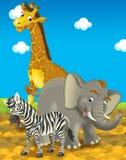 Beeldverhaalsafari - illustratie voor de kinderen Stock Fotografie