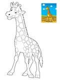Beeldverhaalsafari - kleurende pagina voor de kinderen Stock Fotografie