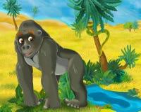 Beeldverhaalscène - de wilde dieren van Afrika - gorrilla Royalty-vrije Stock Afbeeldingen