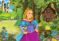 Beeldverhaalscène met één of ander mooi meisje in bos houten hut royalty-vrije stock afbeelding