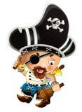 Beeldverhaalscène met de kapitein van de piraatmens met zwaard op zijn rug op witte achtergrond vector illustratie