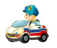 Beeldverhaalscène met kind - jongen in stuk speelgoed autoziekenwagen op witte achtergrond Royalty-vrije Stock Afbeeldingen