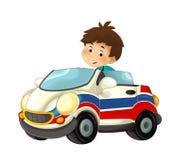 Beeldverhaalscène met kind - jongen in stuk speelgoed autoziekenwagen op witte achtergrond Royalty-vrije Stock Fotografie