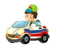 Beeldverhaalscène met kind - jongen in stuk speelgoed autoziekenwagen op witte achtergrond Stock Afbeeldingen