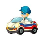 Beeldverhaalscène met kind - jongen in stuk speelgoed autoziekenwagen op witte achtergrond Royalty-vrije Stock Afbeelding
