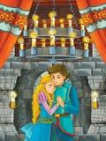 Beeldverhaalscène met mooie meisje en jongen - prins en prinses - in kasteelruimte royalty-vrije stock foto's