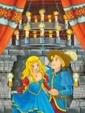 Beeldverhaalscène met mooie meisje en jongen - prins en prinses - in kasteelruimte stock afbeelding