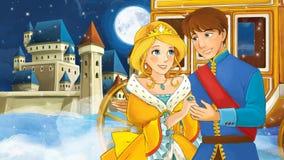 Beeldverhaalscène met prins en prinses Stock Afbeeldingen