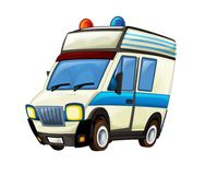 Beeldverhaalscène met ziekenwagenvrachtwagen op witte achtergrond stock foto