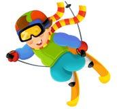 Beeldverhaalscène - op de ski die pret hebben Royalty-vrije Stock Foto