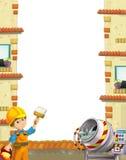 Beeldverhaalscène van een bouwwerfkader met de werkende mens en concrete mixer royalty-vrije illustratie