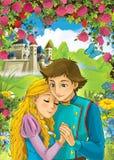 Beeldverhaalscène van het houden van van paar - prins en prinses - kasteel op de achtergrond stock afbeeldingen