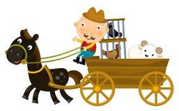 Beeldverhaalscène van landbouwer die houten wagen met kippen in geïsoleerde kooien berijden - vector illustratie