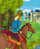 Beeldverhaalscène van mooie prins in het bos dichtbij kasteel op de achtergrond royalty-vrije illustratie