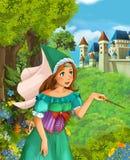 Beeldverhaalscène van mooie prinses of tovenares in de bos het gieten werktijd dichtbij kasteel op de achtergrond royalty-vrije illustratie