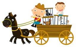 Beeldverhaalscène van vader en zoon die houten wagen met kippen in geïsoleerde kooien berijden - vector illustratie
