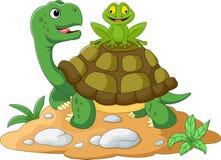 Beeldverhaalschildpad en kikker royalty-vrije illustratie