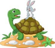 Beeldverhaalschildpad en konijn vector illustratie