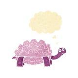 beeldverhaalschildpad met gedachte bel Stock Afbeelding