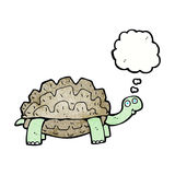 beeldverhaalschildpad met gedachte bel Stock Foto's