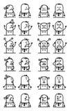 BeeldverhaalSet van tekens - Ongelukkige en Droevige Gezichten stock illustratie