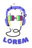 Beeldverhaalsilhouet van een mens met hoofdtelefoons in televisiebril royalty-vrije stock afbeelding