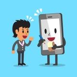 Beeldverhaalsmartphone die onderneemster helpen te werken Stock Afbeeldingen