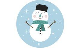 Beeldverhaalsneeuwman, vrolijk karakter voor Kerstmiskaart vector illustratie