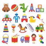 Beeldverhaalspeelgoed Spelstuk speelgoed van de raketkinderen van de teddybeerdinosaurus de robot van de de kubussenvlieger De ve stock illustratie