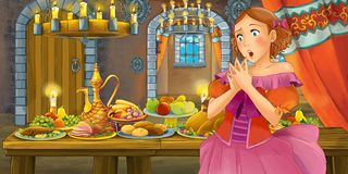 Beeldverhaalsprookje met prinses in het kasteel door het lijsthoogtepunt van en voedsel die eruit zien glimlachen stock illustratie