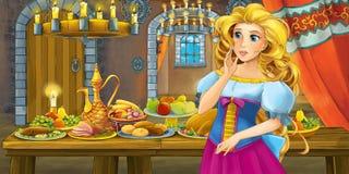 Beeldverhaalsprookje met prinses in het kasteel door het lijsthoogtepunt van en voedsel die eruit zien glimlachen royalty-vrije illustratie