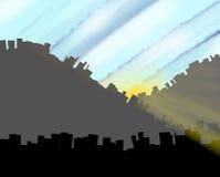 Beeldverhaalstad bij dageraad stock illustratie