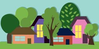 Beeldverhaalstad met Huizen en Bomen Het kan voor prestaties van het ontwerpwerk noodzakelijk zijn De zomerla Royalty-vrije Stock Afbeeldingen
