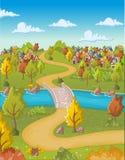 Beeldverhaalstad met huizen en weg op groen bos vector illustratie