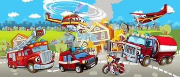 Beeldverhaalstadium met verschillende machines voor brandbestrijdings kleurrijke en vrolijke scène vector illustratie
