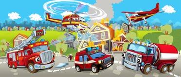 Beeldverhaalstadium met verschillende machines voor brandbestrijdings kleurrijke en vrolijke scène stock illustratie