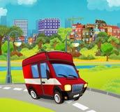 Beeldverhaalstadium met voertuig voor brandbestrijdings en vrachtwagenbestelwagen die eruit zien glimlachen vector illustratie
