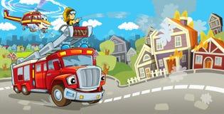 Beeldverhaalstadium met vrachtwagen voor brandbestrijdings kleurrijke en vrolijke scène en vliegende machine vector illustratie
