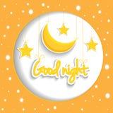 Beeldverhaalster en maan die goede nacht wensen Vectorachtergrond EPS1 Stock Afbeeldingen