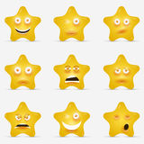Beeldverhaalsterren met emotionele gezichten in beeldverhaal Royalty-vrije Stock Afbeeldingen